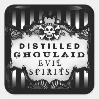 Halloween Black & White Striped Square Drink Label