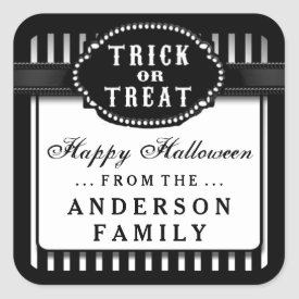 Halloween Black & White Striped Trick or Treat Square Sticker