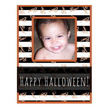 Halloween Themed Halloween Black White Stripes Modern Boo Photo Postcard