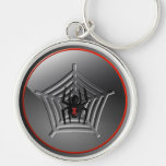 Halloween Black Widow Spider on a Web Keychain Key Chains