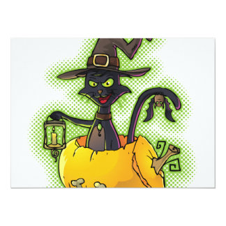 Halloween Black Witch Cat in Pumpkin Card
