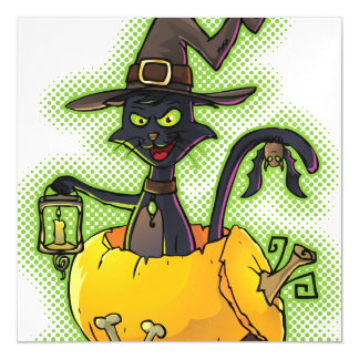 Halloween Black Witch Cat in Pumpkin Magnetic Card