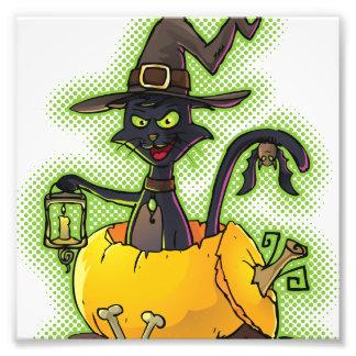 Halloween Black Witch Cat in Pumpkin Photo Print