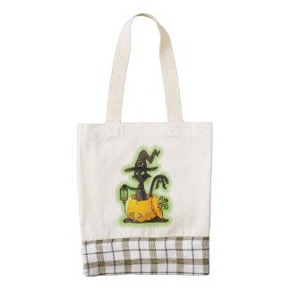 Halloween Black Witch Cat in Pumpkin Zazzle HEART Tote Bag