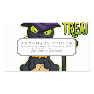 Halloween Black Witch Cat Trick or Treat Double-Sided Standard Business Cards (Pack Of 100)