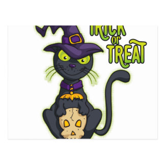 Halloween Black Witch Cat Trick or Treat Postcard