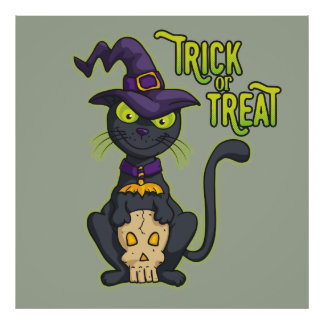 Halloween Black Witch Cat Trick or Treat Poster