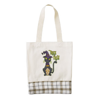 Halloween Black Witch Cat Trick or Treat Zazzle HEART Tote Bag