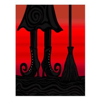 Halloween black witch postcard
