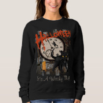 HALLOWEEN BLACK WITCHES CAT WOMEN'S SWEATSHIRT