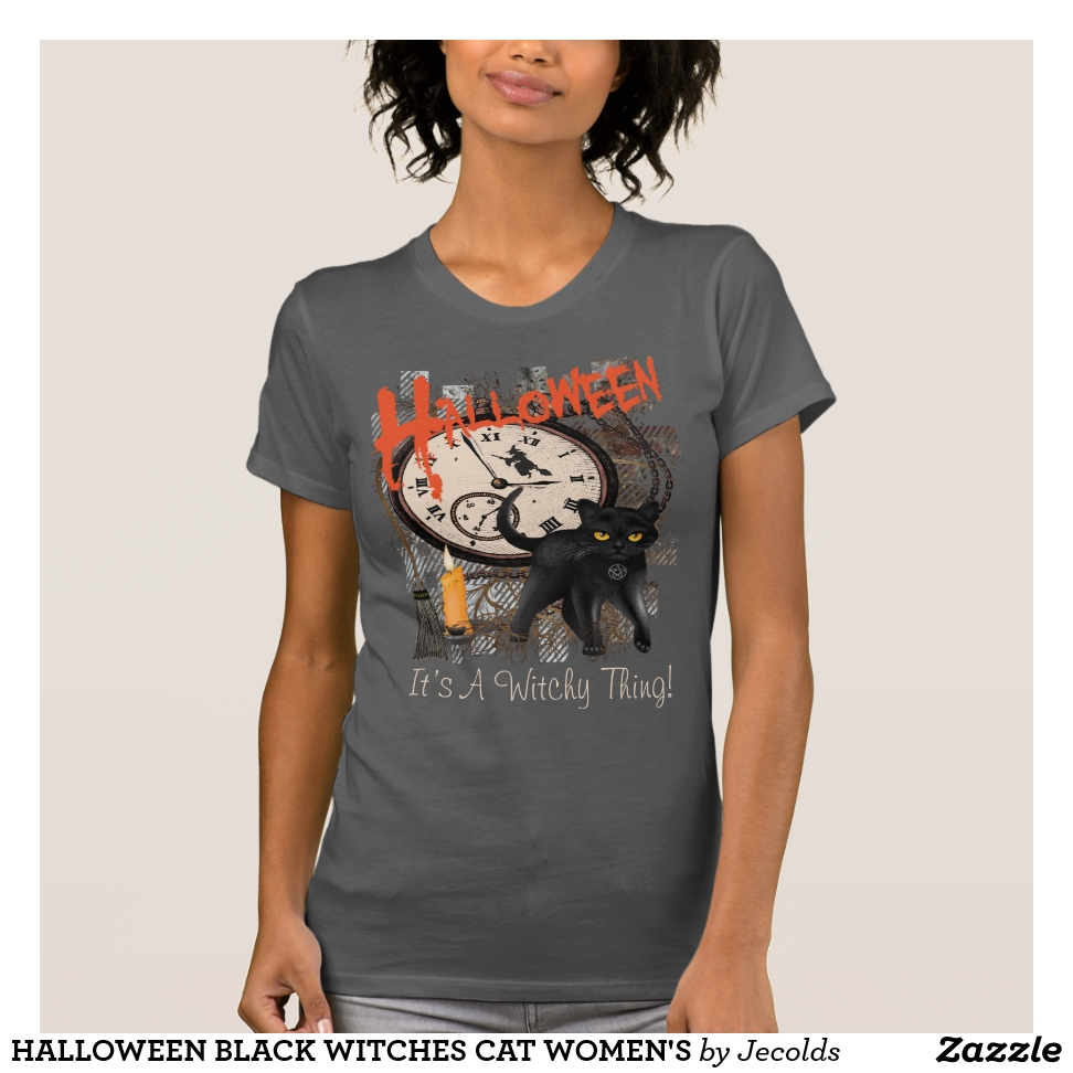 HALLOWEEN BLACK WITCHES CAT WOMEN'S T-Shirt - Best Selling Long-Sleeve Street Fashion Shirt Designs