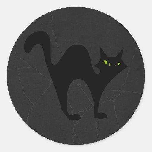 Halloween blackcat classic round sticker