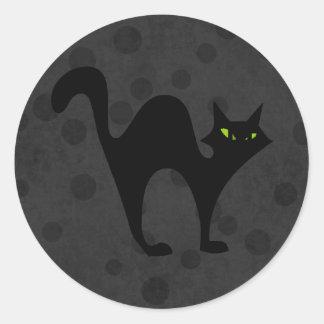 Halloween blackcat round sticker