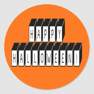 Halloween Block Text Classic Round Sticker