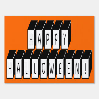 Halloween Block Text Yard Sign