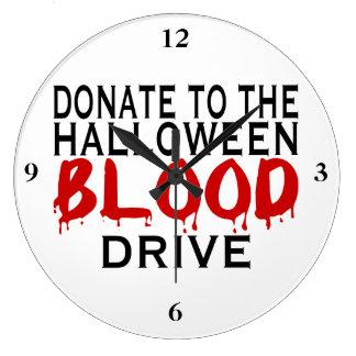 Halloween Blood Drive Large Clock
