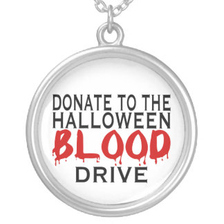 Halloween Blood Drive Round Pendant Necklace