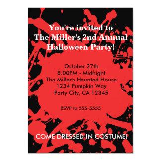 Halloween Blood on Black Horror Party Invitation