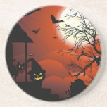 Halloween Bloody Moonlight Nightmare Beverage Coasters