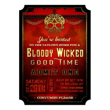 Halloween Themed Halloween Bloody Wicked Red & Gold Party Invite