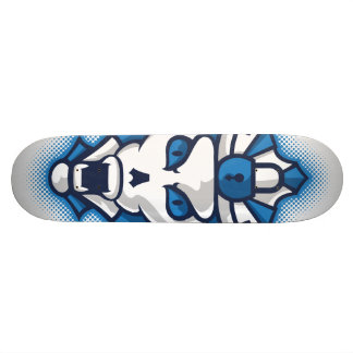 Halloween Blue and White Monster Shield Skateboard Deck