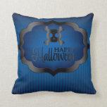 Halloween blue skull throw pillow