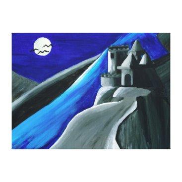 Halloween Themed Halloween Blue Vampire Castle Canvas Print