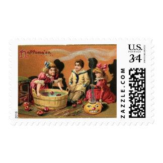 Halloween Bobbing for Apples Postage Stamp