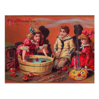 Halloween Bobbing For Apples Postcard