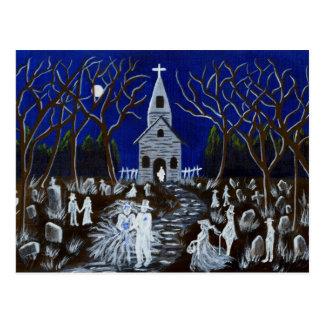 Halloween, boda, cementerio, fantasmas, postal