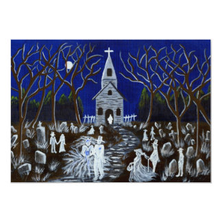 """Halloween, boda, invitación, iglesia, fantasmas invitación 5"""" x 7"""""""