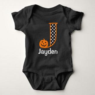 Halloween Bodysuit w Pumpkin Monogram Initial J