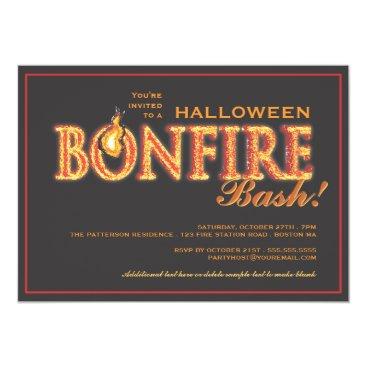 Halloween Themed Halloween Bonfire Bash on Fire Party Invitation
