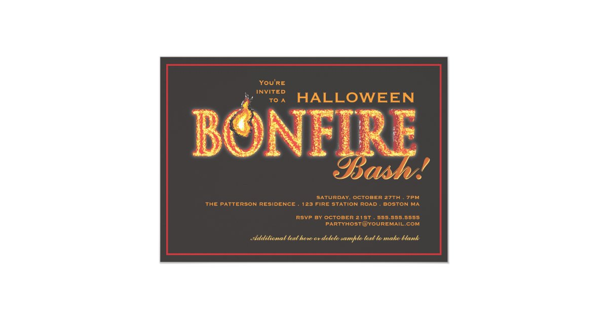 Halloween Bonfire Bash on Fire Party Invitation   Zazzle.com