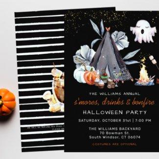 Halloween Bonfire Sleepover Party Invitation