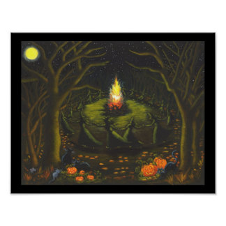 Halloween, bonfire,witches,black,cat.mice,woods poster