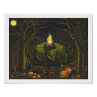 Halloween,Bonfire,witches,black,cats,coven Poster
