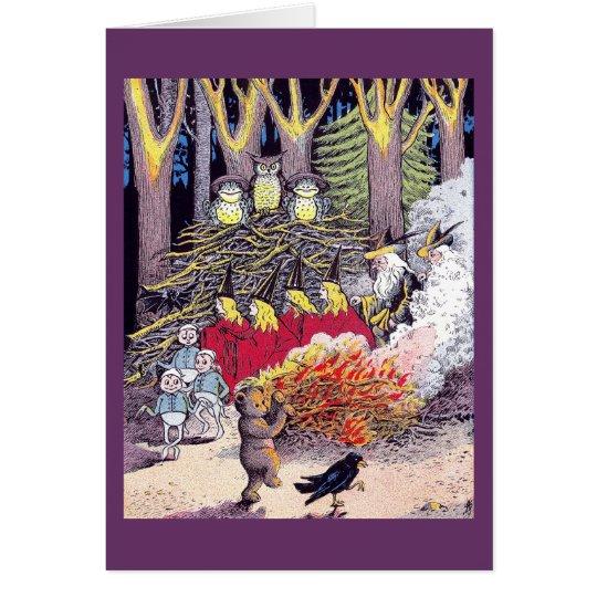 Halloween Bonfire with Bear and Brownies Card