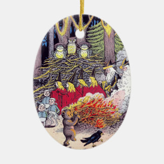 Halloween Bonfire with Bear and Brownies Double-Sided Oval Ceramic Christmas Ornament