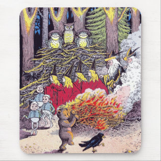 Halloween Bonfire with Bear and Brownies Mouse Pad