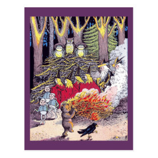 Halloween Bonfire with Bear and Brownies Postcard