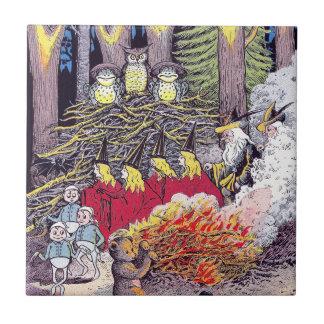 Halloween Bonfire with Bear and Brownies Tile