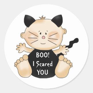 Halloween BOO Baby Boy Cat Costume Fun Stickers