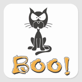Halloween Boo Black Cat Square Sticker