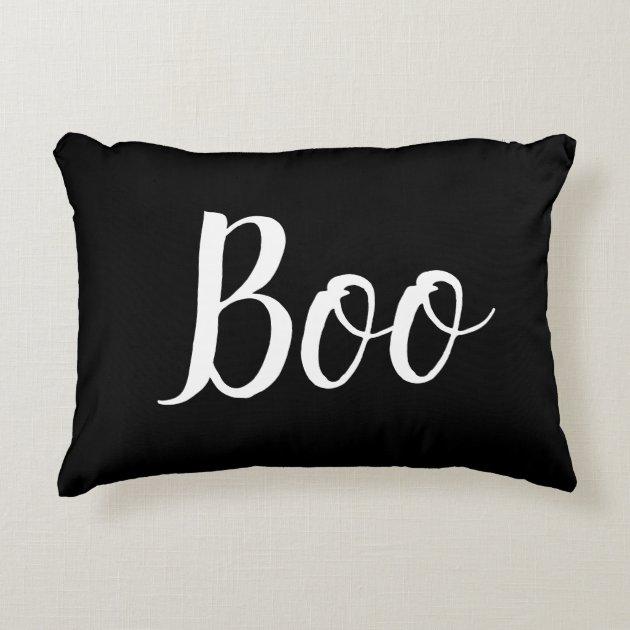 Halloween Boo Black White Accent Pillow Zazzle Com