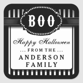 Halloween BOO Black & White Striped Treat Label Square Sticker