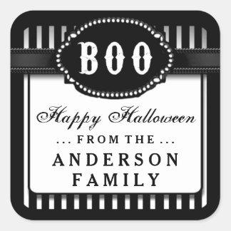 Halloween BOO Black & White Striped Treat Label Square Sticker