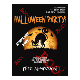 Halloween Boo Cat Bats Party Announcement Flyer