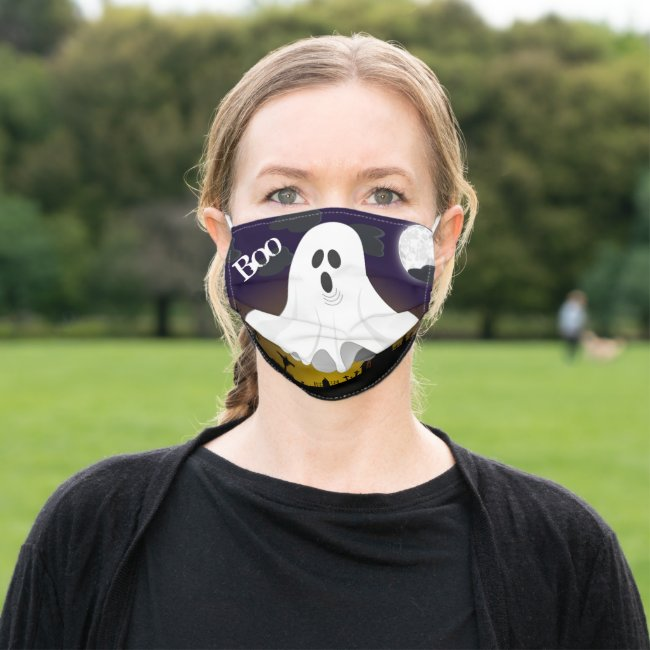 Halloween Boo / Ghost in Graveyard Cloth Face Mask