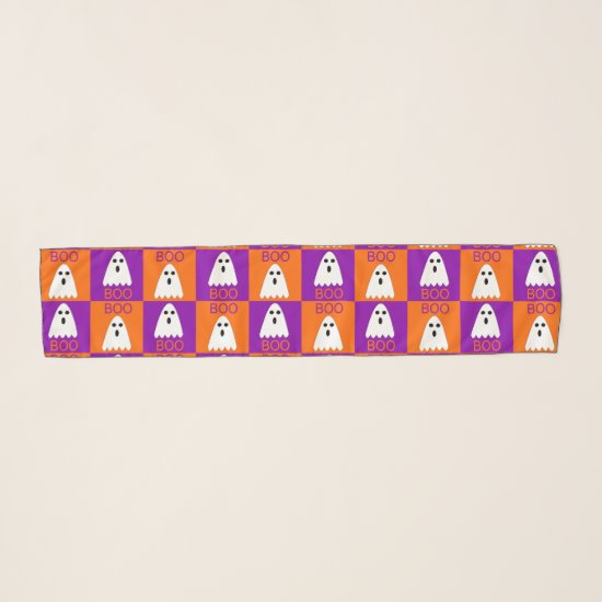 Halloween Boo Ghost Purple and Orange Squares Scarf
